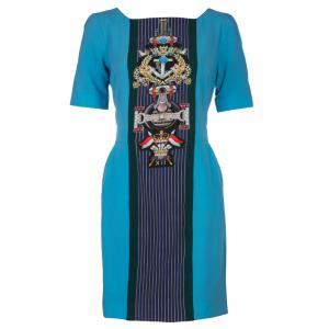 Mary Katrantzou Turquoise Blue Harlie Panel Printed Short Sleeve Dress M