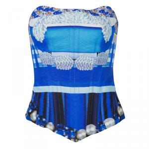 Mary Katrantzou Blue Printed Corset M