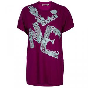 Mary Katrantzou Pink Lace Patch T Shirt L
