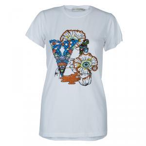 Mary Katrantzou White Sequin Embellished T Shirt XS