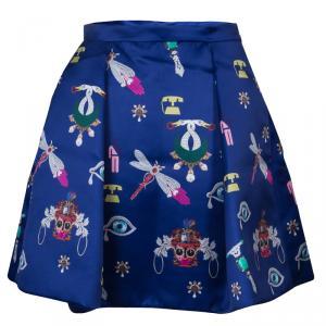 Mary Katrantzou Blue Printed Silk Calculon Flared Skirt M