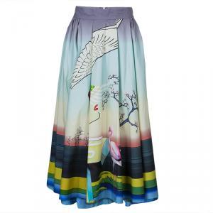 Mary Katrantzou Multicolor Flamingo Print Cotton Dirndl Skirt M