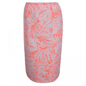 Matthew Williamson Cream and Neon Orange Floral Jacquard Pencil Skirt M