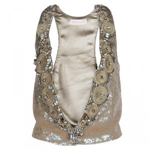 Matthew Williamson Gold Sequin and Crystal Embellished Vest S
