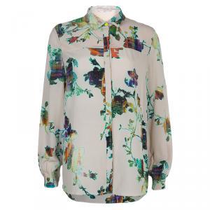 Matthew Williamson Beige Floral Print Buttondown Long Sleeve Silk Shirt M