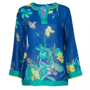 Matthew Williamson Blue Printed Pom-Pom Lace Trim Long Sleeve Sheer Blouse M