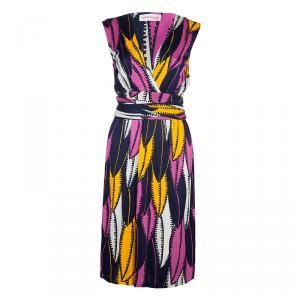 Matthew Williamson Multicolor Print Waist Tie Detail Sleeveless Dress M