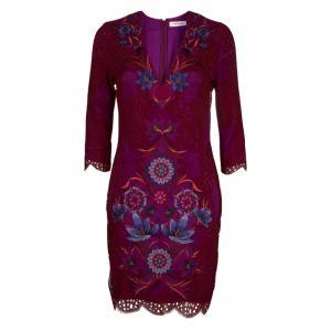 Matthew Williamson Purple Floral Embroidered Aplique Lace Dress M