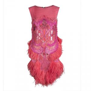 Matthew Williamson Pink Silk Feather and Bead Embellished  Sleeveless Cocktail Dress S