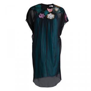 Matthew Williamson Black Silk Embellished Yoke Detail Dress M
