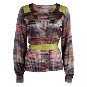 Mathew Williamson Multicolor Striped Satin Belted Long Sleeve Blouse S