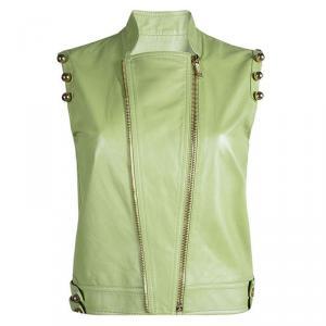 Matthew Williamson Light Green Ball Embellished Leather Vest S