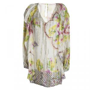Matthew Williamson Mutlicolor Printed Silk Lurex Detail Long Sleeve Dress M