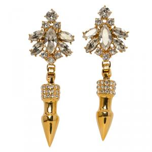 Mawi Crystals Rose Gold Plated Pave Spikes Dangle Earrings