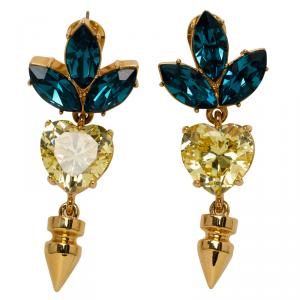 Mawi Yellow Blue Crystal Embellished Rose Gold Plated Spike Dangle Earrings