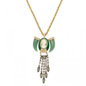 Mawi Heirloom Tusk Cameo Crystals Long Gold Tone Pendant Necklace