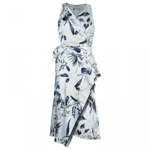 Max Mara Floral Silk Wrap Dress M