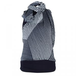 Max Mara Monochrome Print Draped Top M