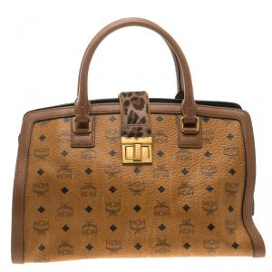 MCM Cognac Coated Canvas Calfhair Detailed Tote