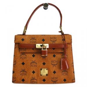 MCM Cognac Visetos Coated Canvas Heritage Top Handle Bag