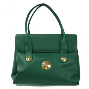 MCM Green Leather Flap Top Handle Bag