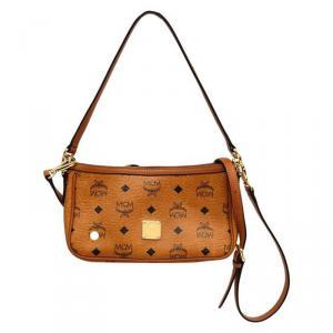 MCM Cognac Visetos Coated Canvas Heritage Zip Up Crossbody Bag