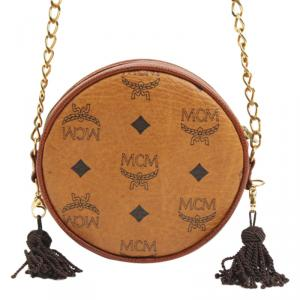 MCM Cognac Visetos Coated Canvas Shoulder Bag