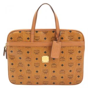 MCM Cognac Visetos Coated Canvas Business Briefcase