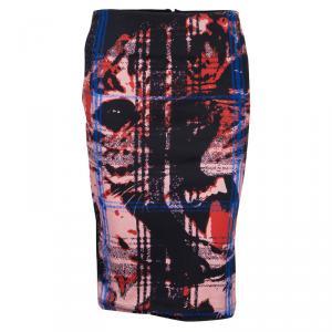 McQ by Alexander McQueen Black Jersey Printed Pencil Skirt M