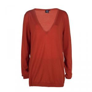 McQ by Alexander McQueen Burnt Orange Side Zip Detail V-Neck Sweater L