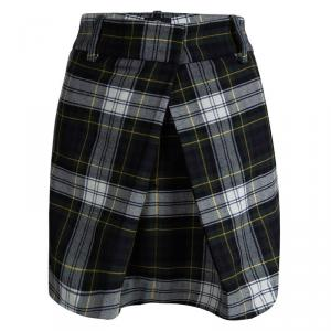 McQ By Alexander McQueen Green Wool Tartan Plaid Inverted Pleat Rupert Skirt M
