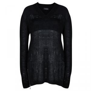 McQ By Alexander McQueen Black Wool V-Neck Sweater L