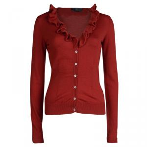 McQ by Alexander McQueen Red Ruffle Detail Button Front Cardigan S