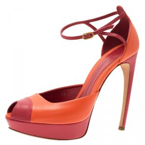 McQ by Alexander McQueen Red and Orange Leather Peep Toe Platform Sandals Size 39
