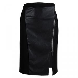 Michael Kors Black Faux Leather Panel Fitted Knee Length Skirt S