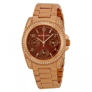 Michael Kors Red Gold-Plated Stainless Steel Crystal Mini Blair MK6092 Women's Wristwatch 33MM