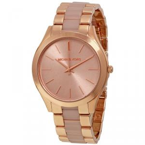 Michael Kors Rose Gold-Plated Stainless Steel Slim Runway MK4294 Women's Wristwatch 42MM