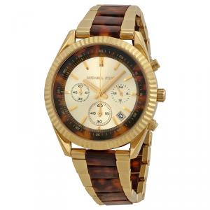 Michael Kors Champagne and Brown Gold-Plated Stainless Steel Clarkson MK5963 Women's Wristwatch 41MM