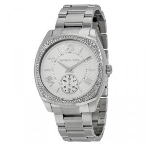 Michael Kors Silver Stainless Steel Crystal Bryn MK6133 Women's Wristwatch 40MM