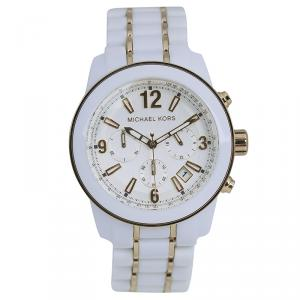 Michael Kors White Stainless Steel and Acetate MK5804 Women's Wristwatch 43MM