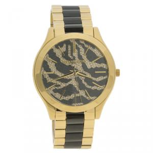 Michael Kors Zebra Pattern Stainless Steel Slim Runway MK3315 Women's Wristwatch 41MM