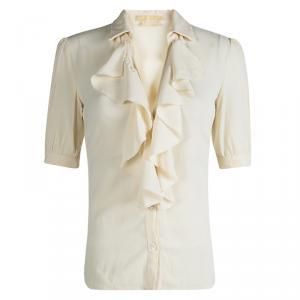 Michael Kors Cream Silk Ruffle Front Detail Blouse S