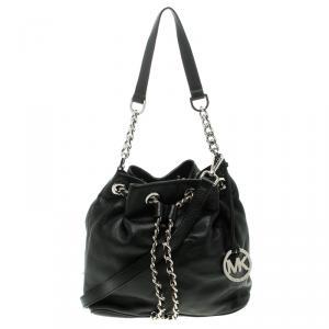 Michael Kors Black Leather Frankie Drawstring Bag
