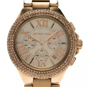 Michael Kors Cream Rose Gold-Plated Stainless Steel Crystal Camille MK5636 Women's Wristwatch 43MM