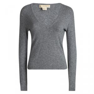 Michael Michael Kors Grey Cashmere V Neck Sweater S