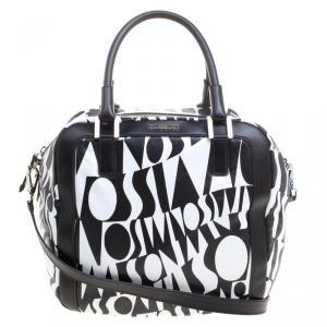 Missoni Black and White Leather Logo Print Tote