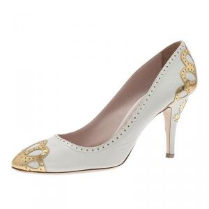 Miu Miu White and Gold Floral Brogue Pumps Size 41