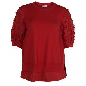Moncler Red Knit  Floral Applique Sleeve Detail Top M