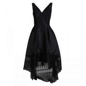 ML By Monique Lhuillier Black Lace Detail High Low Gown S