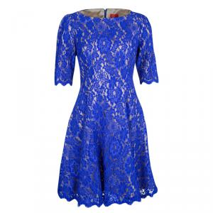 ML By Monique Lhuillier Blue Scalloped Lace Short Sleeve Dress L